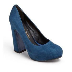 Latitude Femme blue suede block heel